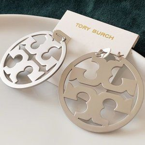 Tory Burch Logo Silver Hoop Earrings